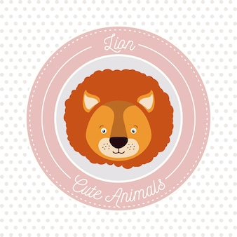 Пунктирный фон с цветной рамкой декоративный и лицо льва милый животное текст векторной иллюстрации