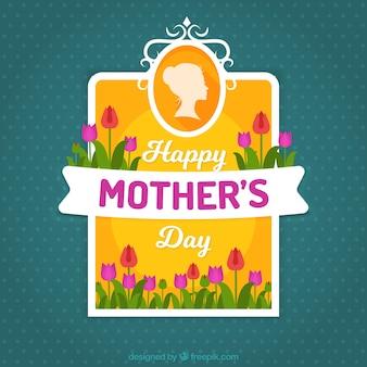 母の日のためのかわいい花が点在し、背景