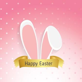 Maschera di pasqua con le orecchie di coniglio isolato su sfondo rosa illustrazione