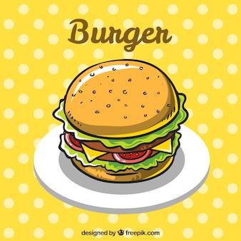 Sfondo punteggiato con hamburger gustoso