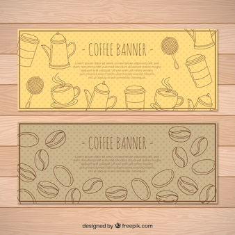 豆コーヒーと装飾的な要素が点在バナー