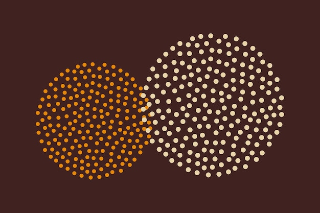 Dotted circle design vector in yellow tone