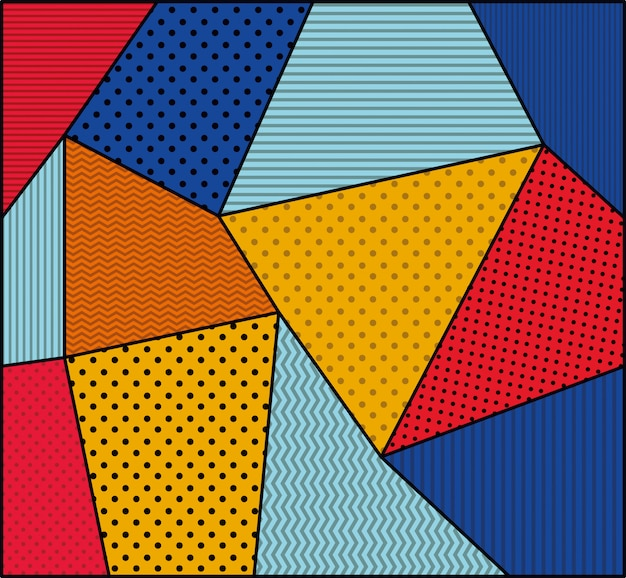 Dotted and colors background pop art style