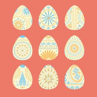 Raccolta disegnata a mano punteggiata delle uova di pasqua