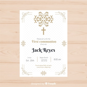 Dotted first communion invitation