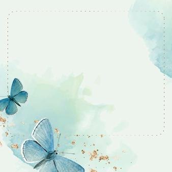 파란색 나비 무늬 배경 벡터와 점선된 프레임