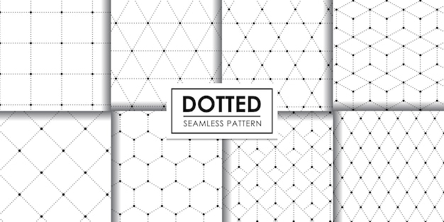Dotted geometric seamless pattern collection, , decorative wallpaper.