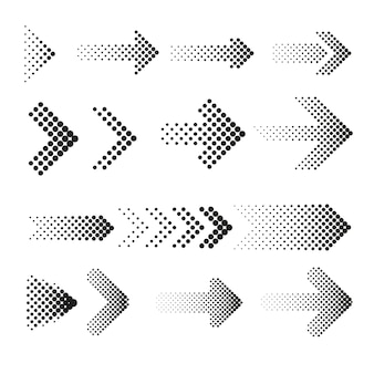 Dotted halftone arrows set