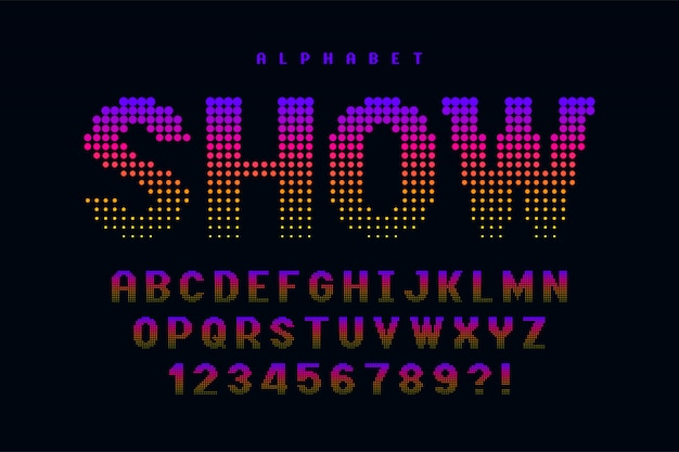 Dotted halftoned display font design, alphabet and numbers