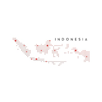 Пунктирная карта индонезии, вдохновение для дизайна логотипа