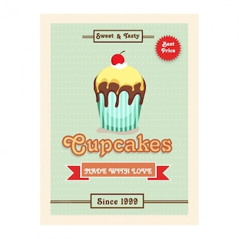 Dotted leaflet with tasty cupcake