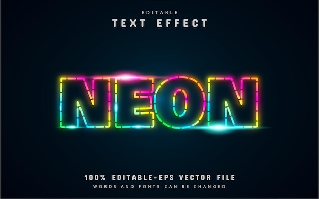 Dotted line, neon colorful text effect