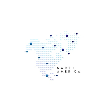 Dotted north america map logo design inspiration