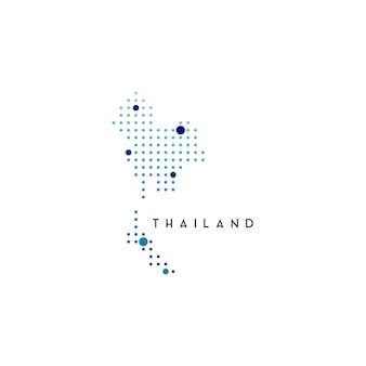 점선된 태국 지도 로고 디자인 영감