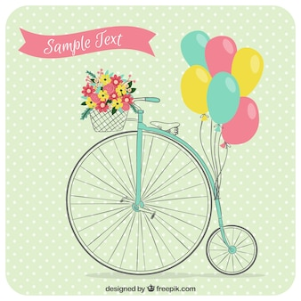 Dotted vintage background with unicycle and balloons