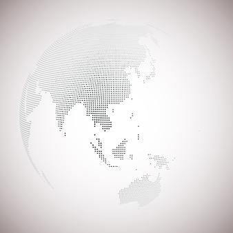 Пунктирный земной шар, светлый дизайн векторной иллюстрации