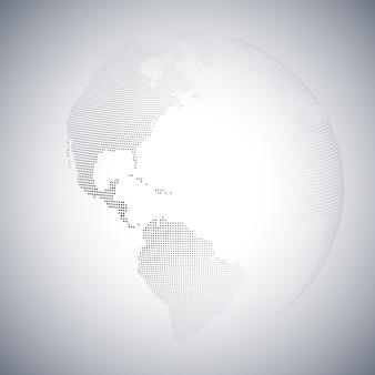 Dotted world globe