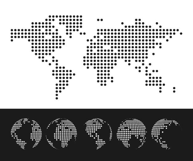 Пунктирная карта мира и набор глобус. иллюстрация