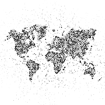 Dotted world map. the concept illustration of globe