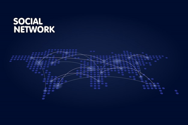 Dotted world map network technology concept