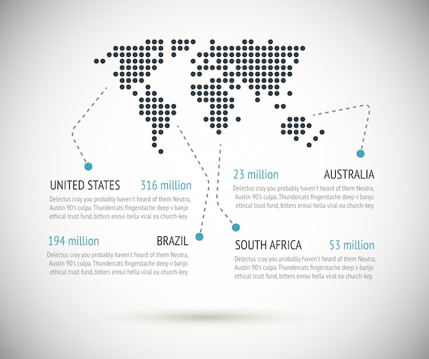 Dotted world map with text examples vector