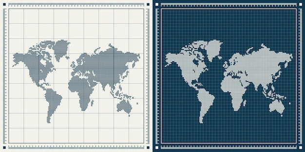 Dotted world maps illustration set