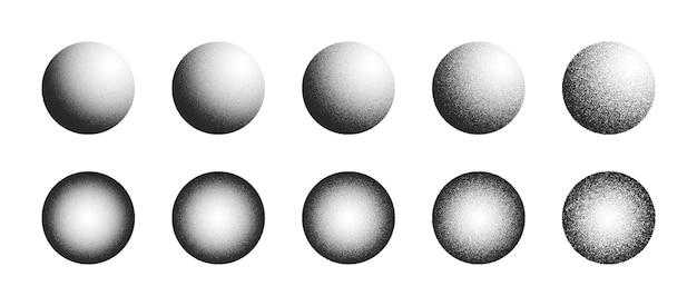 白い背景にさまざまなバリエーションで設定されたドットワーク手描きの抽象的な点描3d球