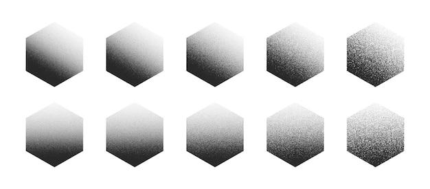 白い背景の上のさまざまなバリエーションで設定されたドットワーク手描きの点描六角形抽象的な形