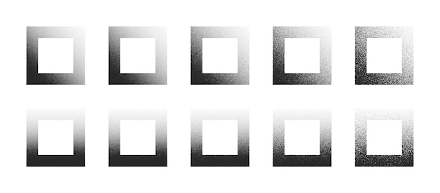 Dotwork hand drawn stippled square frames abstract shapes set in different variations isolated on white background. various degree black noise stipple dots rectangle design elements collection