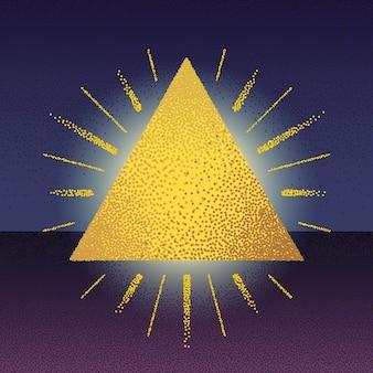 Растровый треугольник dotwork с лучами