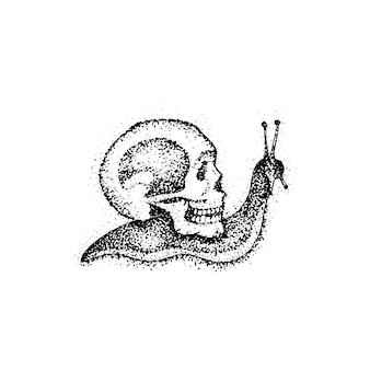 Dotwork slow snail as death. vector illustration of boho style t-shirt design. hipster tattoo hand drawn sketch with skull.