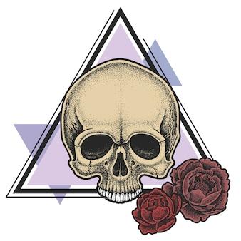 Dotworkスタイルの幾何学的な要素と牡丹の頭蓋骨