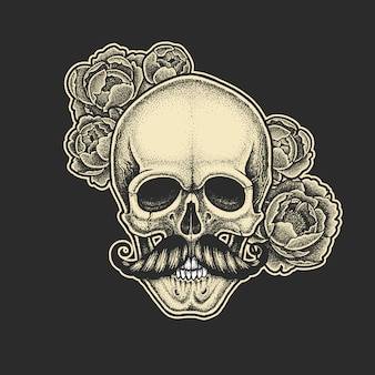 口ひげと牡丹のドットワークスタイルの頭蓋骨。手描きイラスト。 tシャツのデザイン。