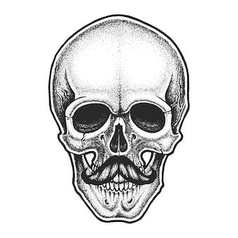 口ひげのあるドットワークスタイルの頭蓋骨。手描きイラスト。 tシャツのデザイン。