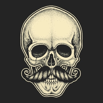 Dotwork styled skull with moustache