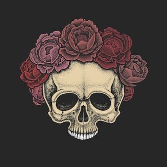 牡丹の花輪を持つドットワークスタイルの頭蓋骨