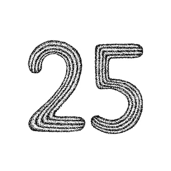 Dotwork twenty five. vector illustration of 25 number t-shirt design. tattoo hand drawn sketch.