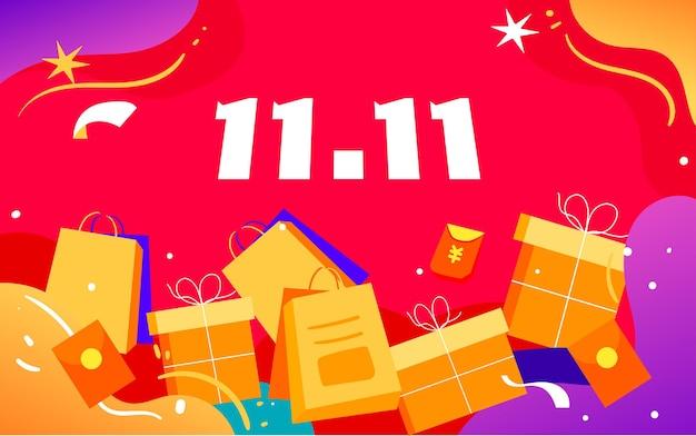Двойной 11 интернет-магазины карнавальная иллюстрация рисунок новогодний торговый плакат