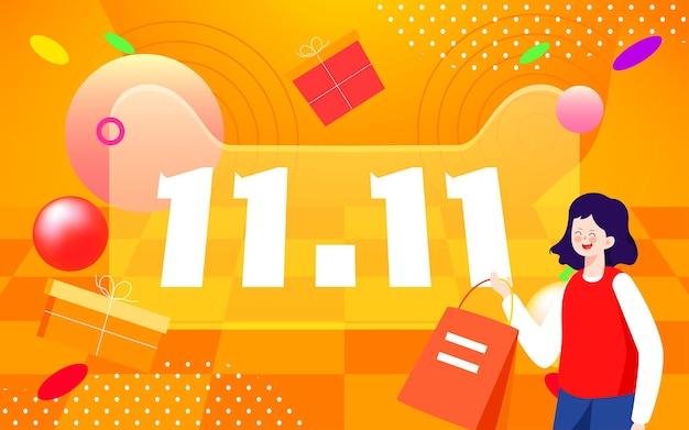 Double 11 shopping festival online shopping character illustration ecommerce website shopping
