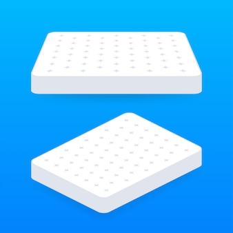 ダブルベッド。寝心地の良いダブルマットレス、どんな目的にも最適なデザイン。睡眠の概念。マットレスのアイコン。ストックイラスト。