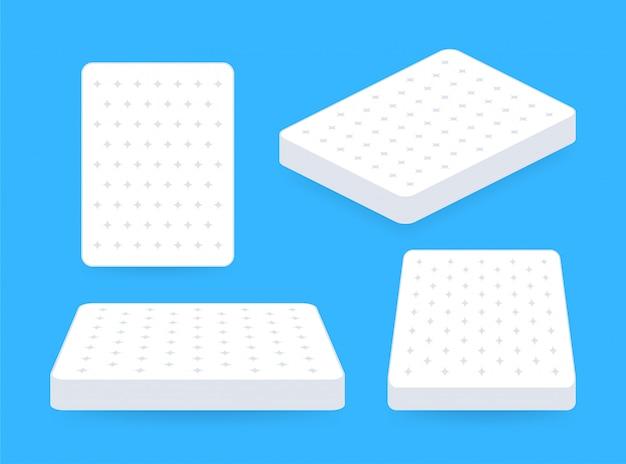 더블 침대. 편안한 더블 매트리스 수면, 어떤 목적에도 적합합니다. 수면 개념. 매트리스 아이콘입니다. 삽화.