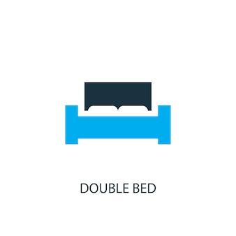 더블 침대 아이콘입니다. 로고 요소 그림입니다. 2가지 색상 컬렉션의 더블 침대 심볼 디자인. 심플한 더블 침대 컨셉입니다. 웹 및 모바일에서 사용할 수 있습니다.