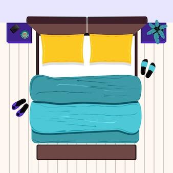 ベッドサイドテーブル付きのダブルベッド。寝室。上面図。