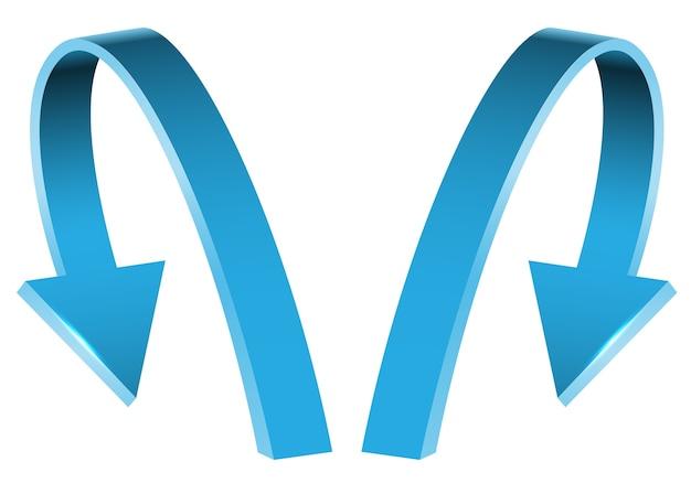 Double blue arrow 3d curve direction on white background.