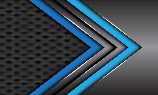 Double blue dark grey metallic arrow direction circle mesh futuristic background.