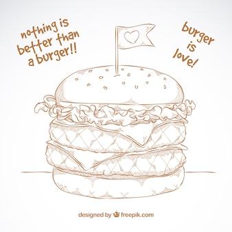 Doppio hamburger in stile a mano