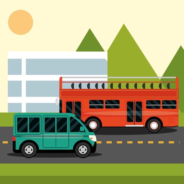 Двухэтажный автобус и микроавтобус на улице города в мультяшном стиле