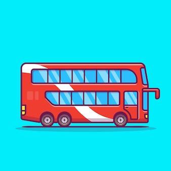 2階建てバス漫画アイコンイラスト。