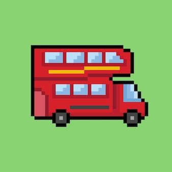 Двухэтажный автобус в стиле пиксель-арт