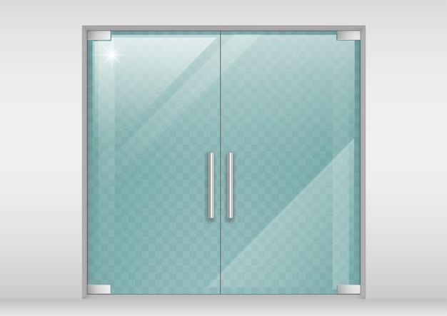 ガラスの両開きドア